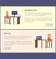 office workplace pages with push buttons and text vector image vector image
