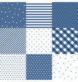 set blue cute seamless patterns vector image vector image