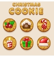 Set Cartoon Christmas cookies biskvit food icons vector image vector image