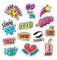 set colorful retro style stickers badges vector image