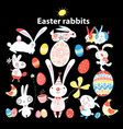 set easter bunnies and eggs o vector image