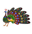 silhouette of peacock with ethnic pattern vector image
