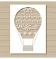 stencil template of air balloon on wooden vector image vector image