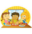 three kids having meal on table vector image vector image