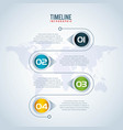 timeline infographic world pointer map vector image