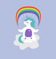 unicorn in a yoga pose holds a rainbow vector image vector image
