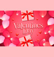 valentines day sale background with gift box rose vector image vector image