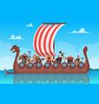 vikings battle ship travel history boat vector image