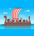 vikings battle ship travel history boat with vector image vector image