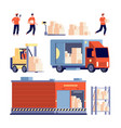warehouse isolated delivery truck stock unloading vector image vector image