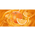 whole orange and slices in fruit juice vector image vector image