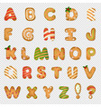 xmas gingerbread cookie alphabet vector image