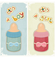Set of Birthday Card for Boy and Girl vector image