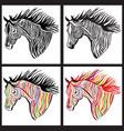horse head paint set wild animal sign vector image