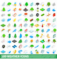 100 weather icons set isometric 3d style vector image
