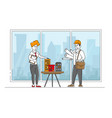 architect woman or engineer character presenting vector image vector image