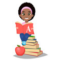 back to school cute afro-american girl holding vector image