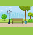 bench with tree and lantern in the park vector image vector image
