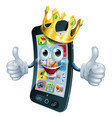 cartoon phone man king vector image vector image