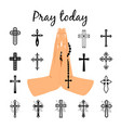 catholic praying hands holding beads vector image