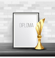 certificate diploma with golden cup award vector image vector image