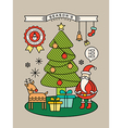 Colorful Christmas tree Santa Claus cartoon vector image vector image