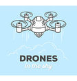 creative drone with text on blue backgrou vector image