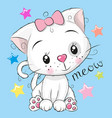 cute kitten girl on a blue background vector image vector image