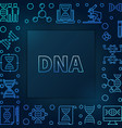dna square blue linear frame vector image vector image