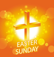 easter sunday card with cross symbol 1 vector image