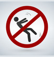 falling person silhouette sign vector image vector image