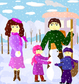 family outdoors in winter vector image