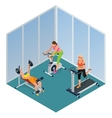 Fitness woman working out on exercise bike Young vector image