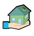 hand with house architecture design icon vector image vector image