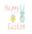 happy easter greeting card template with bunny and vector image vector image