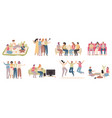 happy friends friendly people spend time together vector image vector image