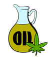 hemp oil and cannabis leaf icon cartoon vector image vector image