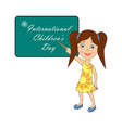international childrens day label with with vector image