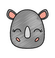 kawaii rhino icon vector image vector image