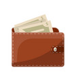 leather wallet with snap isolated icon vector image vector image