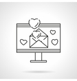 Love email flat line icon vector image vector image
