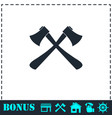 lumberjack axes crossed icon flat vector image vector image