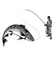 monochromatic fishing design for a vector image vector image
