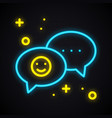 neon message sign bright speech bubble with smile vector image vector image