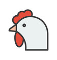 rooster head farm animal filled style editable vector image vector image