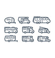 rv cars recreational vehicles camper vans icons vector image