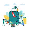 sale concept people with shopping vector image
