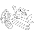 Santa on the Plane coloring page vector image