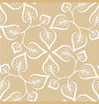 seamless leaves lace pattern on beige background vector image vector image