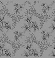 seamless pattern with black sketch lilies on grey vector image vector image